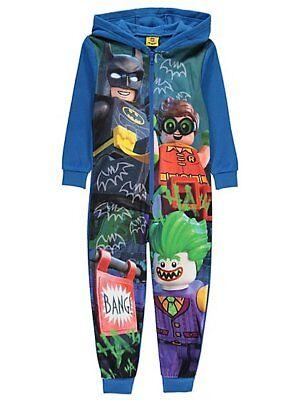 Jungen Dc Comics Lego Batman Fleece mit Kapuze Alles in einem Schlafanzug Ages
