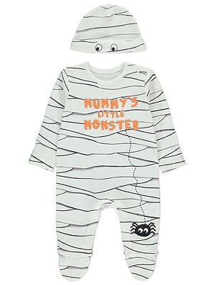 Baby Boys Halloween Mummy's Little Monster Outfit All in One and Hat Outfit