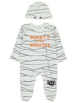 Baby Jungen Halloween-Mumie S Little Monster Outfit Alles in Eins und Hut Outfit (Alle Jungen Halloween Kostüme)