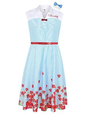 Adult Cute Dorothy Fancy Dress Wizard Of Oz Costume Ladies Womens UK size 8-10](Cute Wizard Of Oz Costumes)