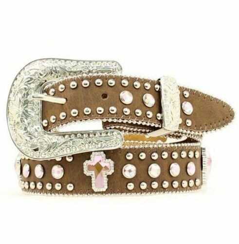 Angel Ranch Western Bling Belt for Girls - Pink Crosses - Size 20
