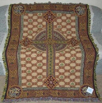 New Celtic Cross Cotton Afghan Tapestry Throw Blanket Religious Church Holy Gift