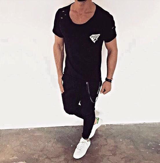 4bd3cfd257b3ed T-shirts Oversize T-Shirt 014 Schwarz Weiß Herren Kingz Design Style Luxus  Tee Long XS-XL
