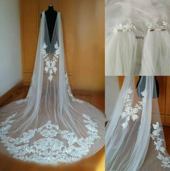 Bride Tulle Shawl Cathedral Wedding White Ivory Lace Applique Shoulder Veil Cape