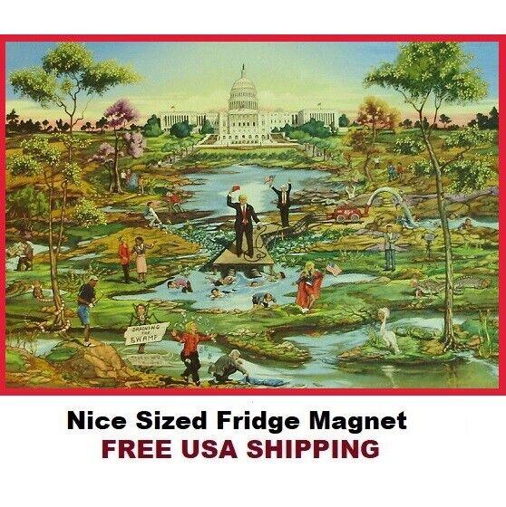 626- Trump Draining The Swamp Art Nice Large Refrigerator Ma
