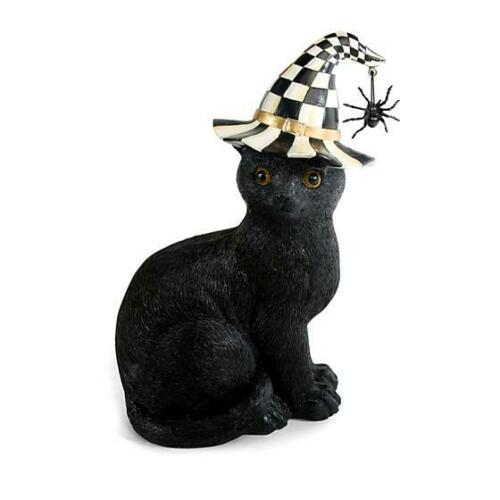 NEW Mackenzie Childs  Halloween Black Cat with Spider on Courtly Check Hat