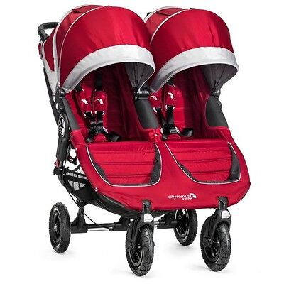 Baby Jogger 2016 City Mini GT Double Stroller - Crimson/ Gray - New! Free (Baby Jogger City Mini Gt Double 2016)