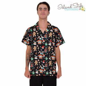 e5d47447 Mens Hawaiian Shirt Gingerbrea Christmas Xmas Party