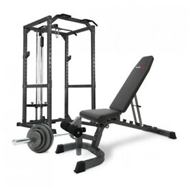 Power Rack, with lat pull down & Cable-235kg Rubber Weights -7ft Olympic Bar -Weight Tree & Flooring