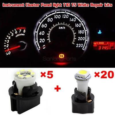 25Pack 74 194 T5 T10 White LED Bulb Instrument Gauge Cluster Light Replacement