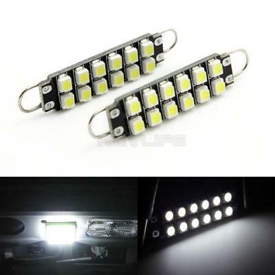 2x 562 Rigid Loop White Light 44mm 12 3528 SMD LED for Dome Trunk Cargo lights
