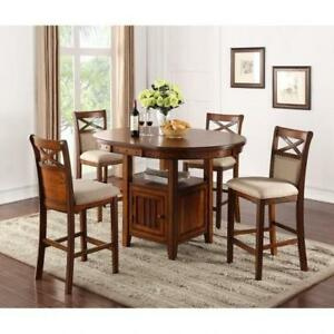 Pub Height Solid Wood Dining Set (BR212)