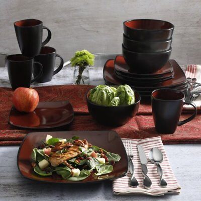 Red Square Plates (Square Dinnerware Set Service For 8 Red Stoneware Dishes Plates Bowls 32)