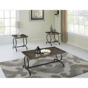 3 Pc Wooden Coffee table Set with Metal Legs (BD-1946)