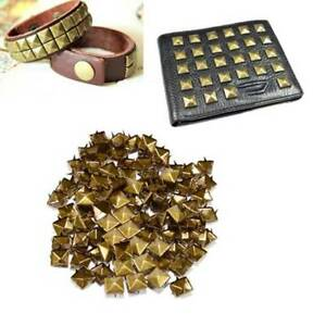 100pcs Claw nails punk Rivets Studs square bronze pyramid I8R9