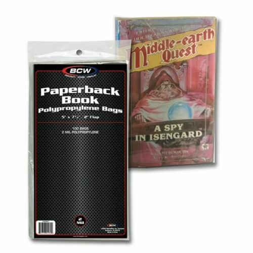 """1 Pack of 100 BCW Brand Paperback Book Bags 5 x 7 3/8"""""""