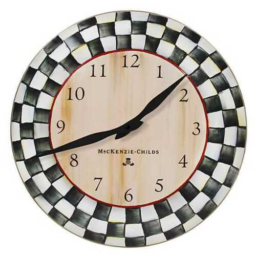 Mackenzie Childs Courtly Check Enamel Clock NEW! MSRP $82