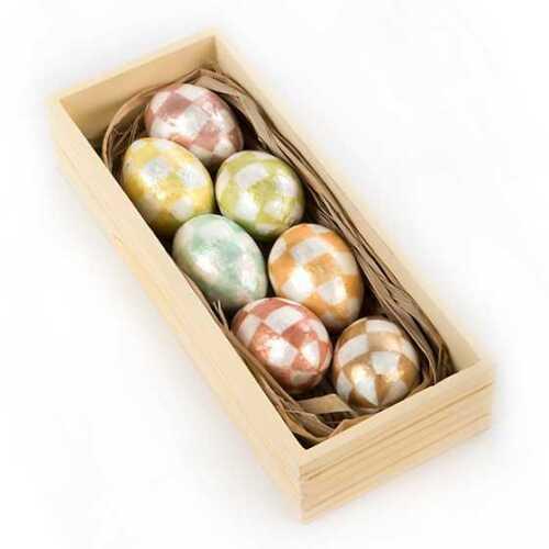 MacKenzie-Childs EASTER Set of 7 Capiz CREAM EGGS ~ Brand New in Box!
