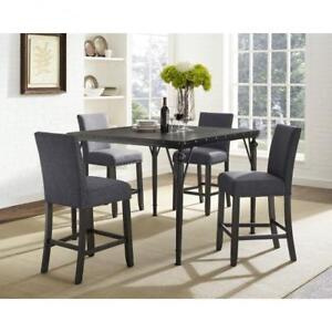 Grey Square Pub Height Table Set with fabric Chairs (BD-1797)