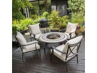 Beautiful brand new Barcelona Firepit and chairs set