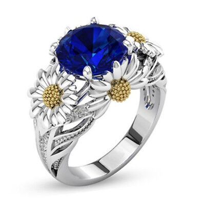 Two Tone Silver Floral Ring Blue Sapphire Daisy Engagement Ring Size 5-11 # Blue Sapphire Two Tone Ring
