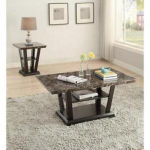 Espresso Marble Look Coffee Table (BD-1951)
