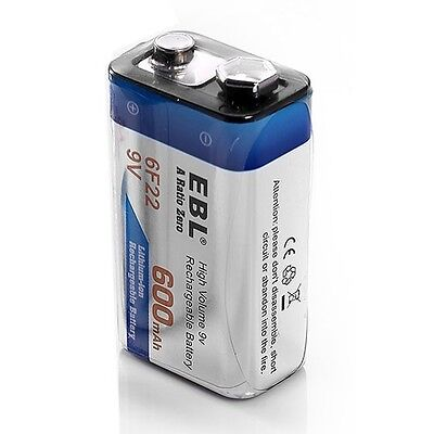 EBL 4x 600mAh 9V Li-ion Rechargeable Battery + 9-Volt 4Slots Lithium-ion Charger