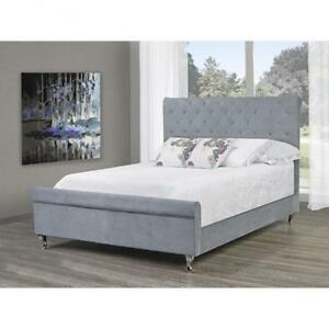 Grey Chenille Tufted Queen Bed with Nailheads web exclusive deal (BR683)