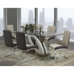 7 Pc Modern Dining Set with Glass Top on sale (BR801)