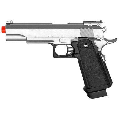 SILVER METAL SPRING AIRSOFT M1911 A1 FULL SIZE PISTOL HAND GUN AIR w/ 6mm BBs - Silver Metal Spring