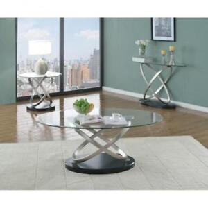 Oval glass coffee table with crisscrossed chrome legs (BR273)