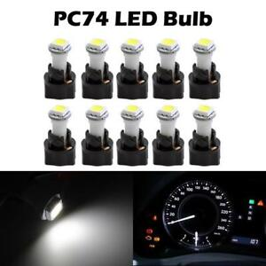 10 PC74 Twist Sockets +White 74 73 Instrument Panel Cluster Dash Led Light Bulbs