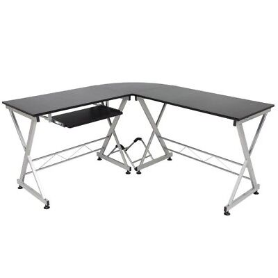 Best Choice Products Wood L-Shape Corner Computer Desk PC Laptop Table