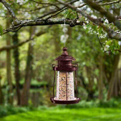 Copper Lighthouse Bird Feeding Seed Feeder Garden Ornament Outdoor Weatherproof -