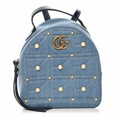 GUCCI Denim Matelasse Pearl Studded GG Marmont Backpack Blue Shoulder Bag
