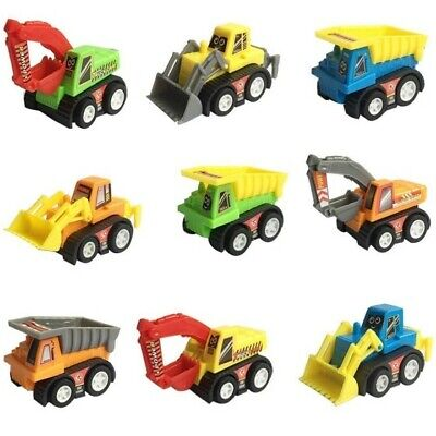 Mini Push Pull Construction Trucks Toy Set 9pk Bday Gift Party Favor Colors Vary - Construction Toy Set