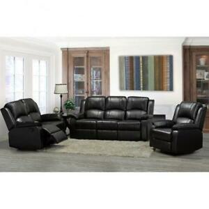 Air Leather Recliner Set in Black (BR234)