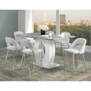 7 Pc Grey Pub Height Dining Set (BR1103)