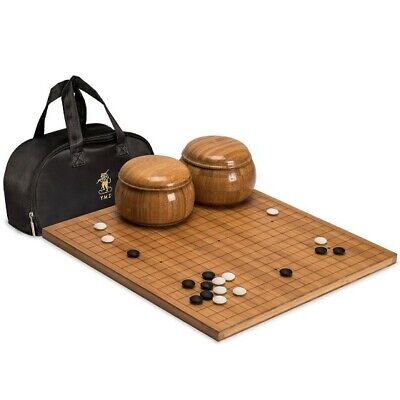 - Go Game Set Etched Bamboo Board 0.8in Thick 2x Convex Melamine Stones w/ 2 Bowls