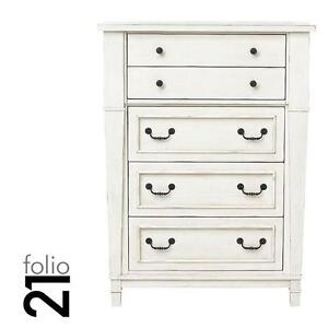 NEW*FOLIO21 BRIDGEPORT DRAWER CHEST - 122987972 - 5 DRAWERS ANTIQUE WHITE BEDROOM CHESTS STORAGE DRESSER DRESSERS FUR...
