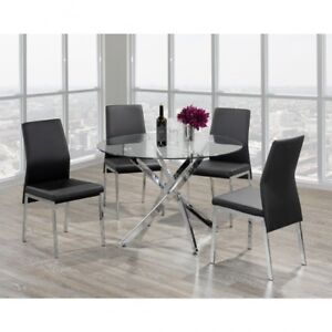 5 pc glass round dinning set clear out price