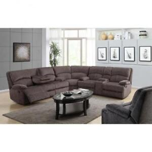 Fabric Sectional Recliner with Drop down Tray (BD-1851)