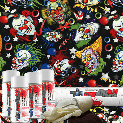 Hydro Dipping Water Transfer Printing Hydrographic Dip Kit Crazy Clowns Dd945