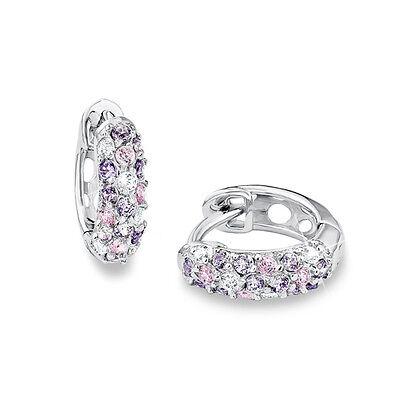 Prinzessin Lillifee Mädchen Creolen rosa lila weiße Zirkonia Ohrringe Silber 925