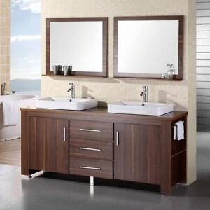 """NEW* DESIGN ELEMENT VANITY SET 72"""" DEC083D-L 179529184 IN TOFFEE WITH WOOD VANITY TOP BASINS AND MIRRORS"""