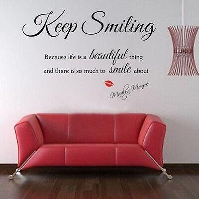 Marilyn Monroe Keep Smiling Wall Art Sticker Mural Quote Vinyl Home Decal DIY