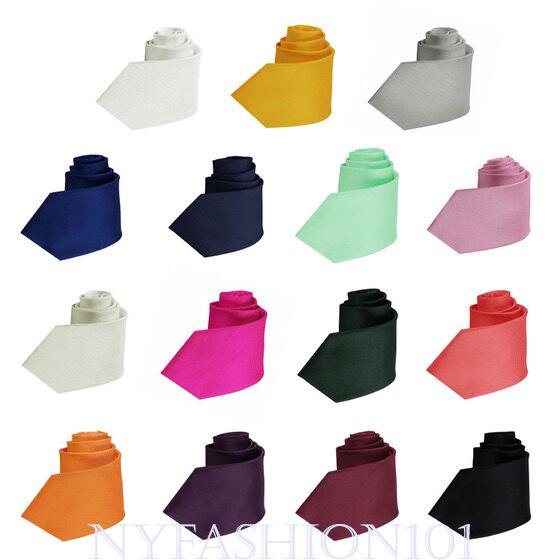 Manzini Neckwear® New Hot Trend! Solid Color Plain Classic Necktie Men