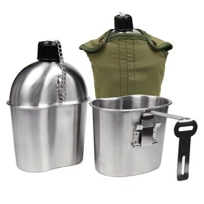 Military Stainless Steel 1 Quart Canteen, Army Green Nylon Cover & Cup, (Portable Canteen)