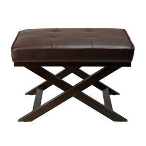 "Cortesi Home Ari ""X"" Bench Ottoman in Bonded, New in box"