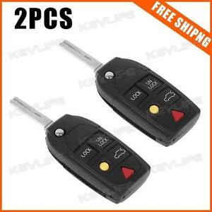 Pack of 2 New 5 Buttons Uncut Flip Remote FOB Key Shell Case For 97 - 05 VolvoG